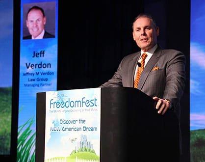 Jeffrey Verdon at speaking at FreedomFest