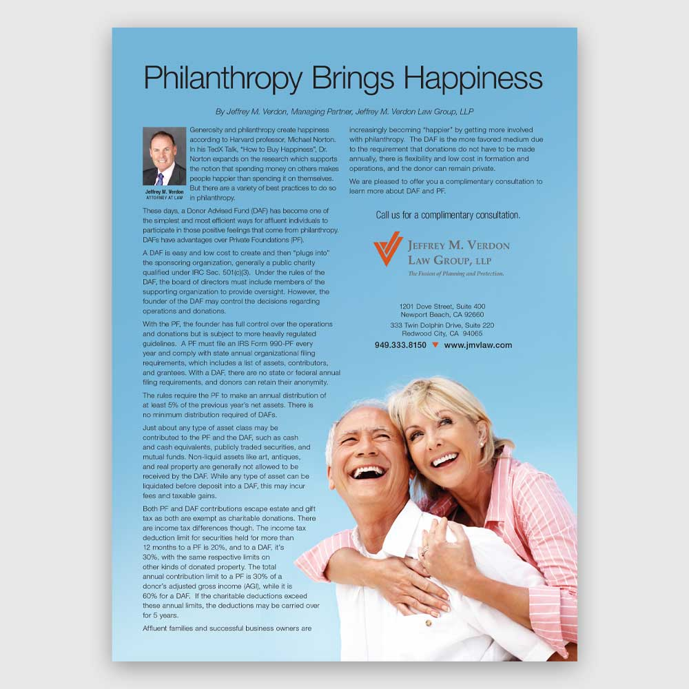 Philanthropy brings happiness